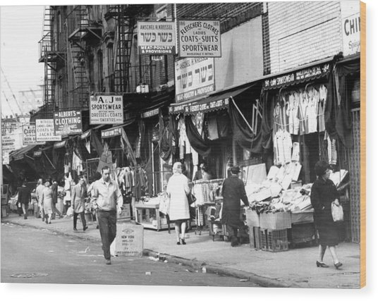 Orchard Street Market On The Lower East Wood Print
