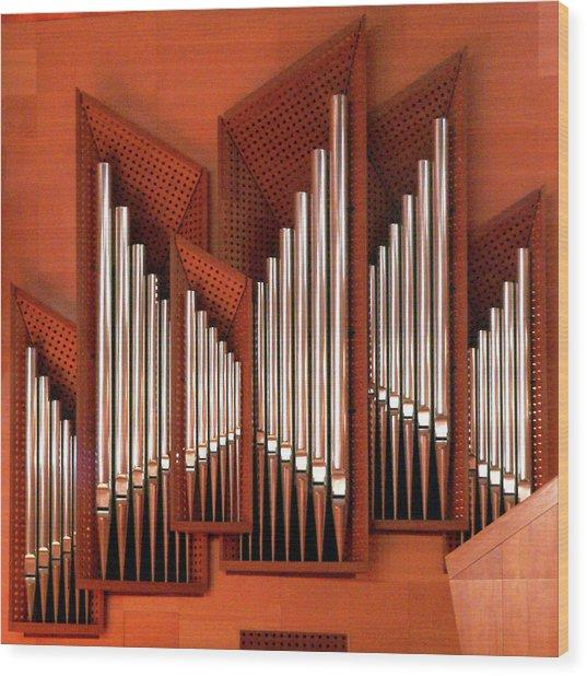 Organ Of Bilbao Jauregia Euskalduna Wood Print by Juanluisgx