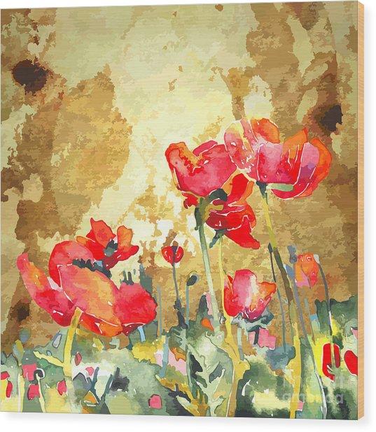 Original Watercolor Poppy Flower In Wood Print