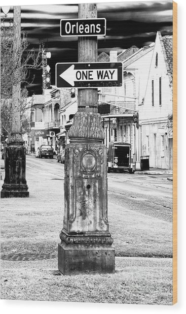 Orleans Street One Way Sign Wood Print