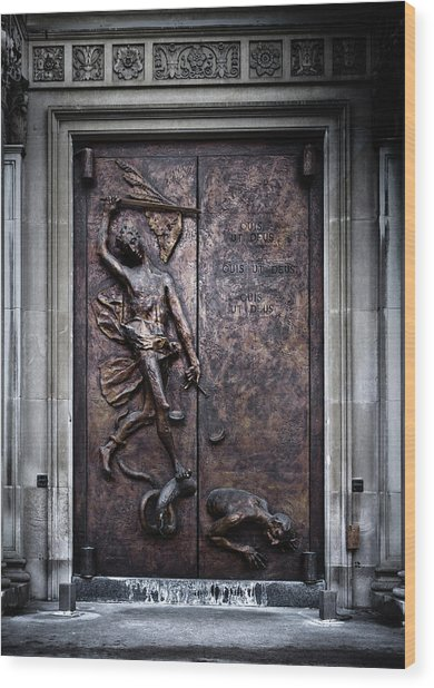 Wood Print featuring the photograph Our Lady Of Sorrows Doorway Color Version by Brian Carson