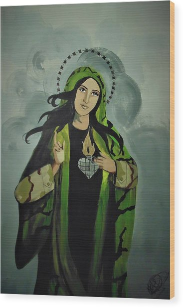 Wood Print featuring the painting Our Lady Of Veteran Suicide by MB Dallocchio
