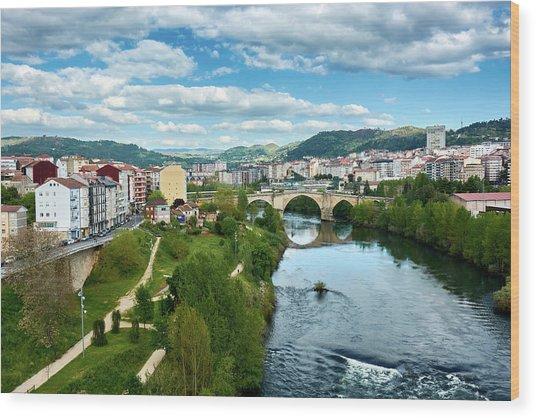 Ourense And The Roman Bridge From The Millennium Bridge Wood Print