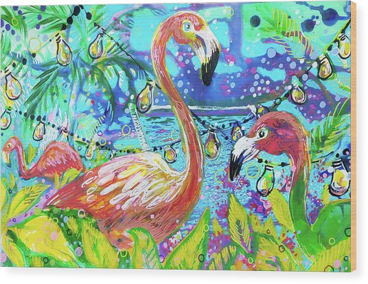 Outdoor Flamingo Party Wood Print
