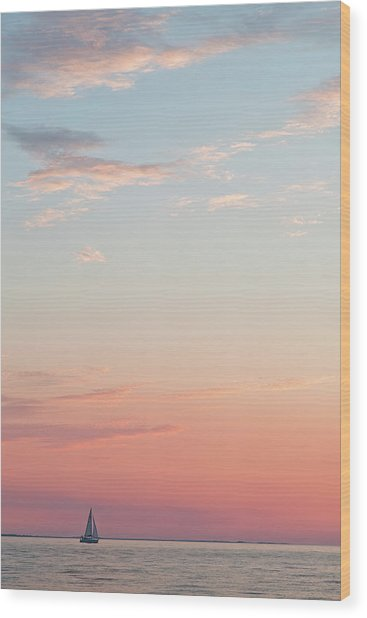 Outer Banks Sailboat Sunset Wood Print