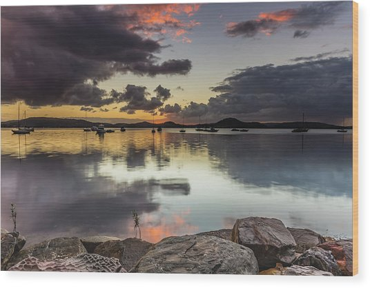 Overcast Waterscape With Hints Of Colour Wood Print