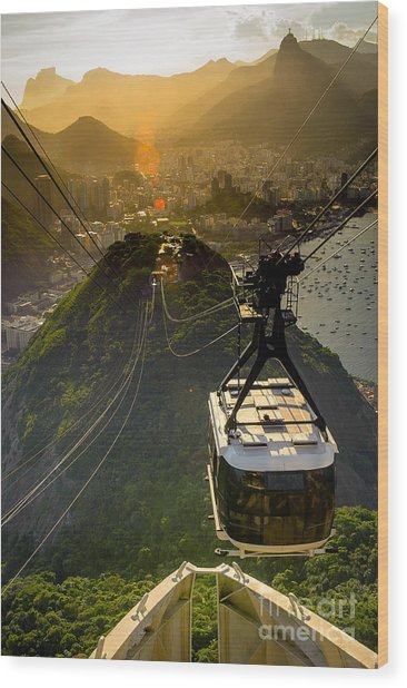 Overhead Cable Car Approaching Wood Print
