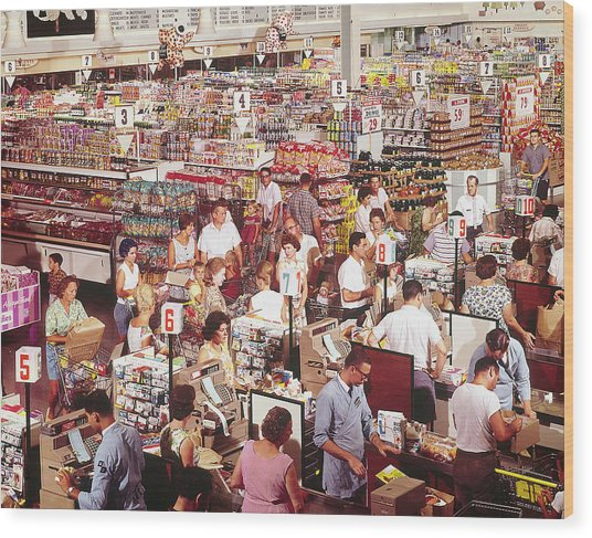 Overhead Of Stacked Shelves Of Food At S Wood Print