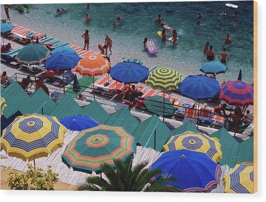 Overhead Of Umbrellas At Private Wood Print
