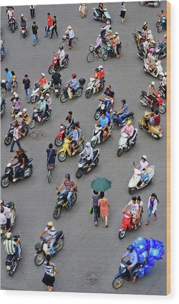 Overhead View Of Motorbike Traffic Wood Print by Rwp Uk