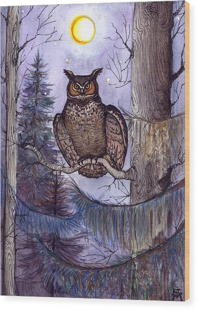 Owl Amid The Evergreen Wood Print
