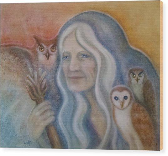Owl Crone Wood Print