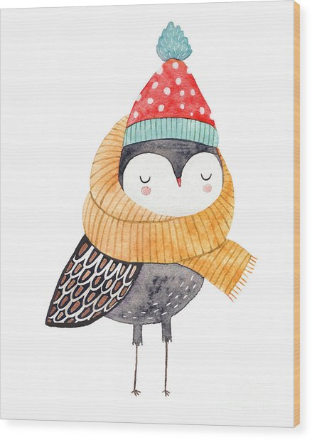 Owl In A Scarf And Hat - Watercolor Wood Print