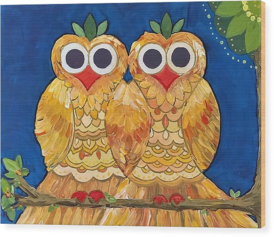 Owls On A Branch Wood Print