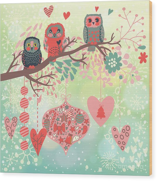 Owls On The Branch In Leafs And Hearts Wood Print