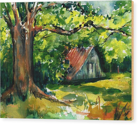 Ozarks Barn In Boxley Valley - Late Summer Wood Print