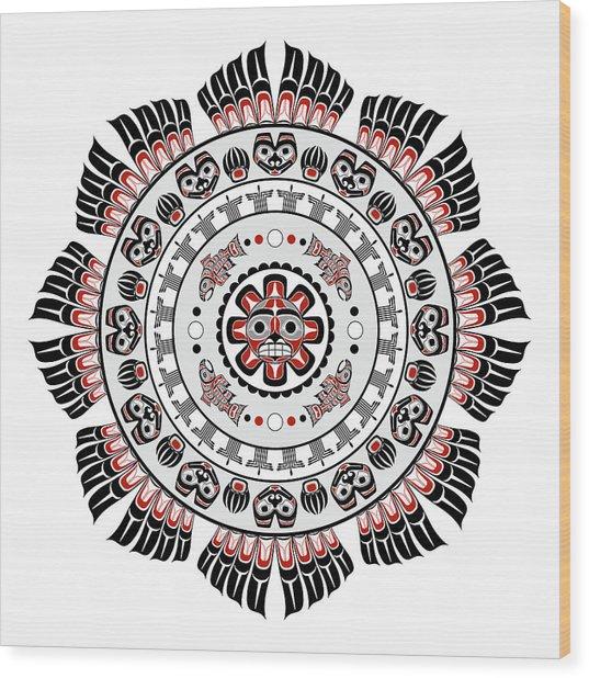 Pacific Northwest Native American Art Mandala Wood Print