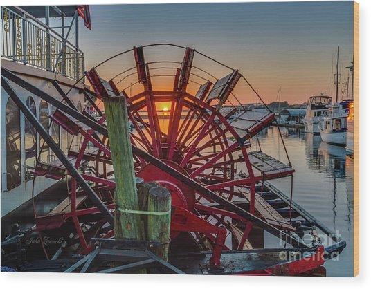 Paddle Wheel Sunrise Wood Print