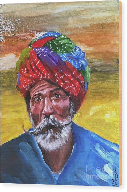 Wood Print featuring the painting Pagdi by Nizar MacNojia