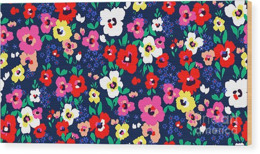 Painted Flowers ~ Seamless Vector Wood Print