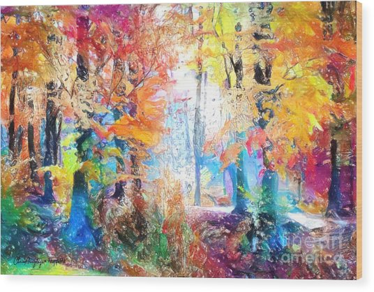 Painted Forest Wood Print