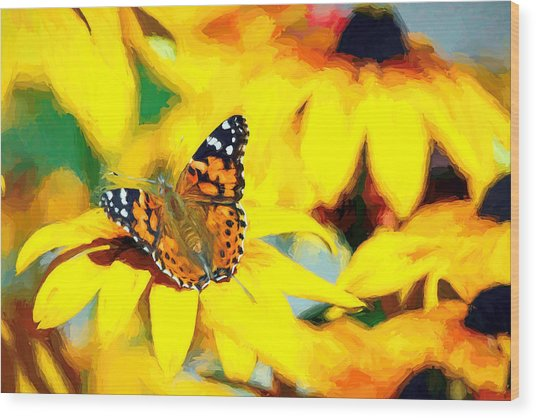 Painted Lady Butterfly Van Gogh Wood Print