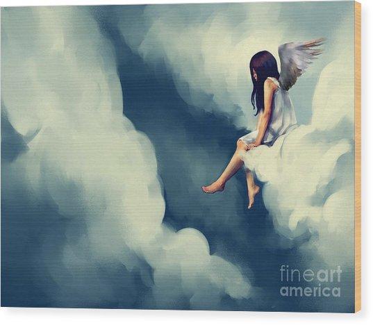 Painting Of Beautiful Angel Sitting On Wood Print