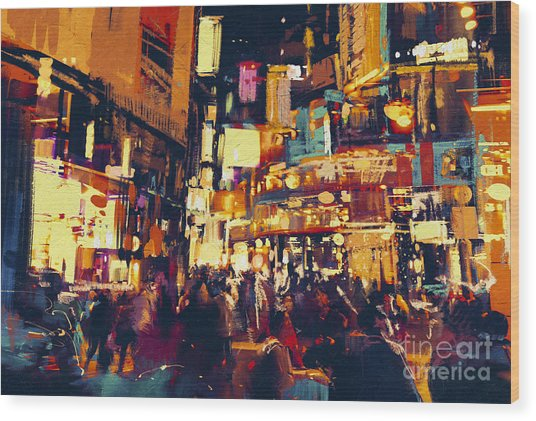Painting Of City Life At Night,people Wood Print