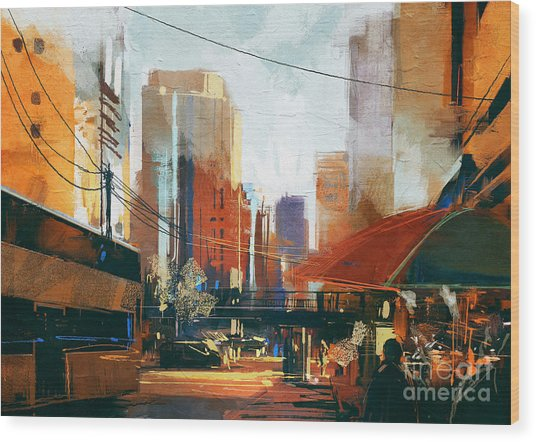 Painting Of City Street In The Wood Print