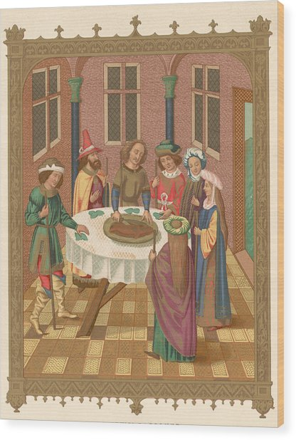 Painting Of Jewish Passover Seder Wood Print by Kean Collection