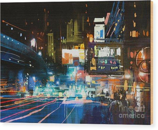 Painting Of Modern Urban City At Wood Print