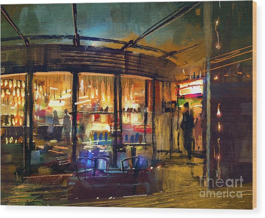 Painting Of Retail Shop Entrance In Wood Print