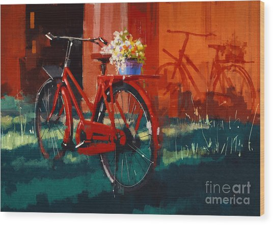 Painting Of Vintage Bicycle With Bucket Wood Print