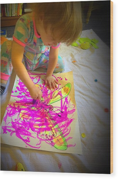 Painting The Butterfly Wood Print by Danielle Rosaria