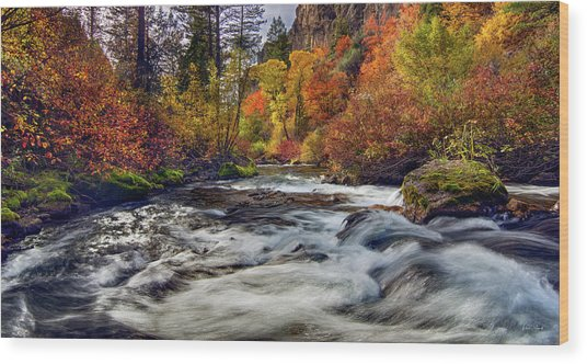 Palisades Creek Autumn Light Wood Print by Leland D Howard