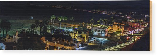 Palisades Park Night - Panorama Wood Print