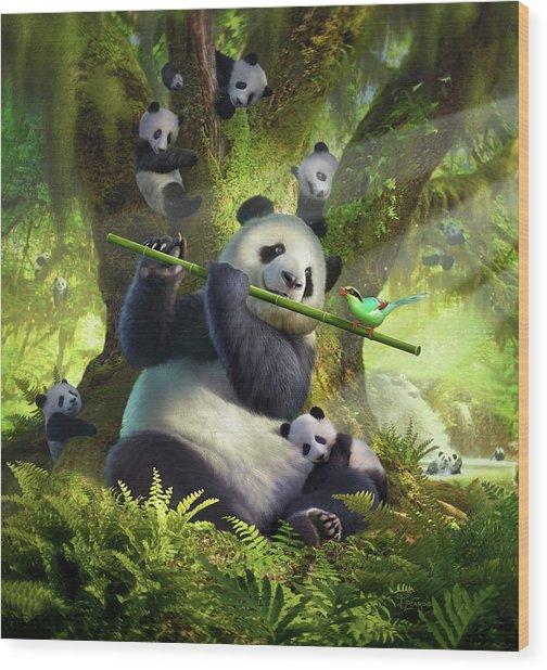 Pan Da Bear Wood Print