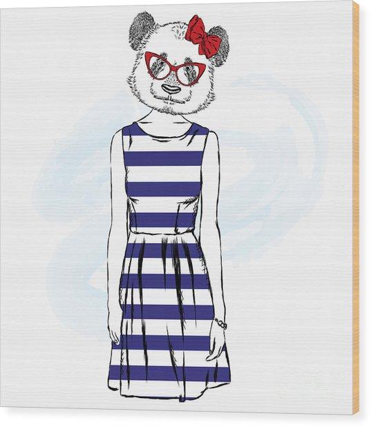 Panda In A Dress . Bear With The Human Wood Print