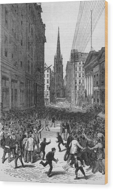 Panic On Wall Street Wood Print by Archive Photos