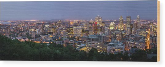 Panorama Of Montreal Skyline Wood Print by Wichan Yingyongsomsawas