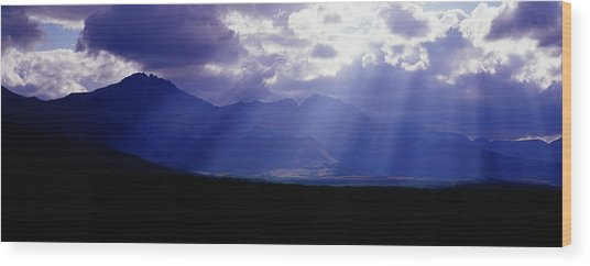 Panoramic Beaming Light In Waterton Wood Print by Jason v