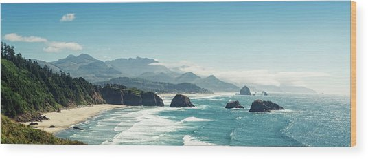 Panoramic Shot Of Cannon Beach, Oregon Wood Print by Kativ