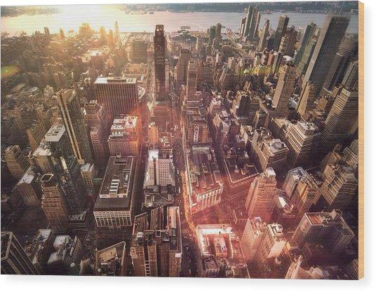 Panoramic View Of A Modern City Wood Print by Ana Aguiar / Eyeem