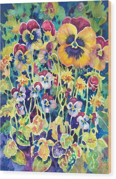 Pansies And Violas Wood Print
