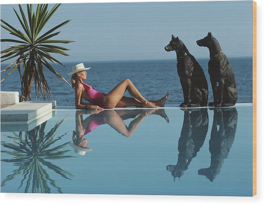 Pantz Pool Wood Print by Slim Aarons