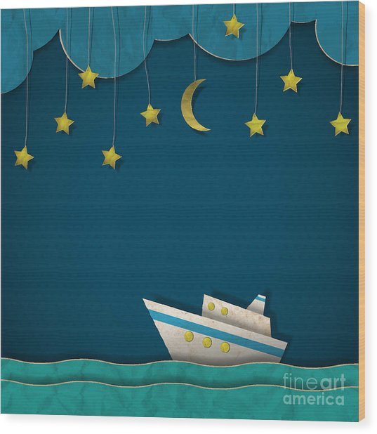 Paper Cruise Liner At Night. Creative Wood Print
