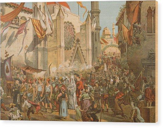 Parade Honoring Magellans Voyage Wood Print by Hulton Archive