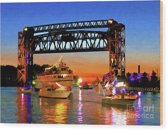Parade Of Lighted Boats Wood Print
