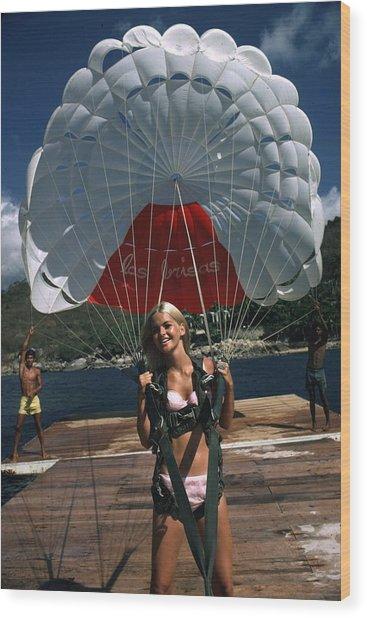 Paraglider Wood Print by Slim Aarons