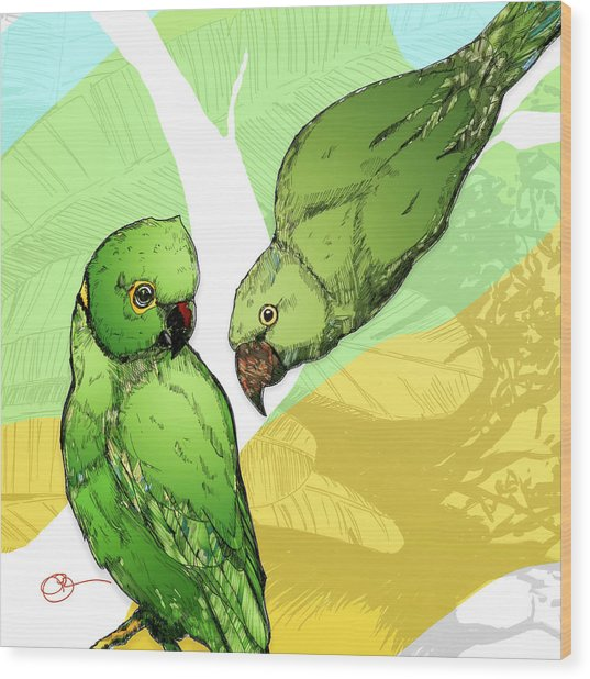Wood Print featuring the digital art Parakeets by Lucas Boyd